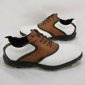 Ecco Gore-Tex Mens 42 White and Brown Leather Oxford Golf Shoes 8-8.5