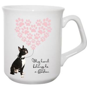 Boston Terrier Mug My heart belongs to a dog gift idea