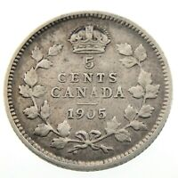 1905 Canada 5 Cents Small Silver Circulated Edward VII Five Cents Coin P428