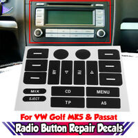 Button Repair Decal Sticker Worn Knob Switch For VW Golf MK5 For Passat RADIO