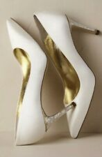 NEW $445 Freya Rose Chelsea Heels Size 38 Bridal Satin Mother Of Pearl
