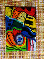 ACEO original pastel painting outsider folk art brut #010184 abstract surreal
