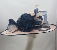 Pink Navy Hat Fascinator Disc Ascot Wedding Mother of the Bride Occasion