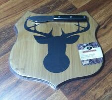 Mossy Oak Bamboo Cutting Board with Cheese Spade Knife Deer Head Shield Shape