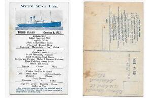 menu 1922 - WHITE STAR LINE-RMS MAJESTIC -OLYMPIC(sister shp TITANIC)