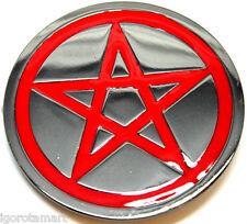 RED PENTAGRAM BELT BUCKLE PENTACLE METAL MENS WOMENS
