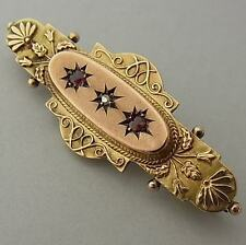 Antigua victoriana Antique Victorian 9CT Oro Y Diamante Medallón Broche