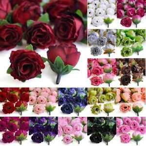 50pcs Artificial Silk Tea Rose Flower Heads Bulk 30mm Wedding Decor Lots YBHS3