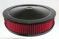 """14"""" X 3"""" Round Black Washable Red Air Cleaner Assembly Flat Base SBC 350 BBC 454"""