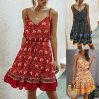 ❤️ Women Boho Floral V Neck Midi Dress Ladies Summer Beach Casual Swing Sundress