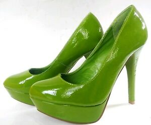 Qupid Shiny Lime Green 6.5 Faux Patent Leather Platform Pump Heel Shoe EXC condn