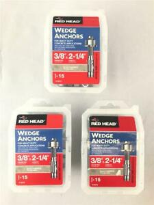"* (3 Boxes) Red Head Wedge Anchors 3/8"" Dia x 2-1/4""L 15 Pieces Per Box 13015"