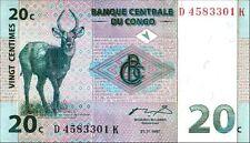 CONGO DR 20 centimes 01-11-1997 Pick 83 Unc