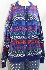 Vintage 90's Sweater Women's Large Blue Purple Cardigan Geometric Hearts Flowers