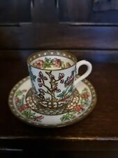 More details for antique coalport hand painted bone china indian tree demitasse coffee can saucer