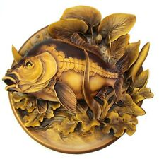 Mirror Carp - 3D Wood Carved Plate Woodcarving Art Wall Decor Trophy Plate