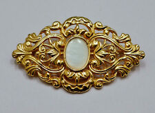 """Vintage 80s Brooch Pin Gold Filigree Ornate White Faux Stone 2¼"""" X 1¼"""""""