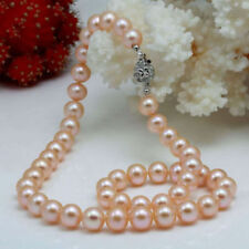 Stunning 8mm Wedding Pink Akoya Freshwater Pearl Necklace with Rose Clasp