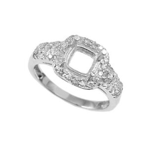 Semi Mount Ring Setting Size 6X6 MM Cushion Square Shape 925 Sterling Silver