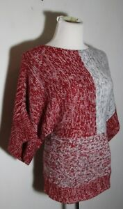 Women's VINTAGE SUZIE Gray Red Kimono Sleeve Sweater Size S NWOT