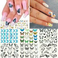 30pcs/set Butterfly Nail Stickers Water Transfer Decals Manicure Art Decor X2R8