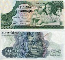 CAMBODIA 1000 Riels Banknote World Paper Money aUNC Currency Pick p17 1973+ Bill