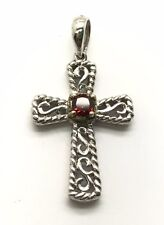 Sterling Silver 925 Two Tone Red Garnet Twisted Swirl Religious Cross Pendant