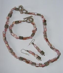 PINK MOTHER OF PEARL NECKLACE + BRACELET + EARRINGS  w/ Silvertone accent beads
