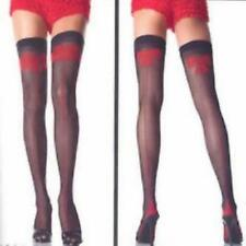Ladies Black Stockings With Red Bow Effect Womens Hosiery Thigh High Sexy Sheer