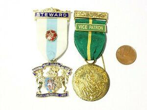 2 x Vintage Enamel Masonic Jewels Vice Patron Samaritans & 1997 Steward #H24
