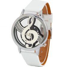 Edle Quartz Uhr mit Musik Noten-Schlüssel Damen-Schmuck Mädchen Weiß Edelstahl