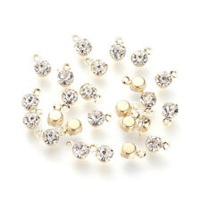 100pcs Brass Rhinestone Mini Charms Faceted Real Gold Filled Pendants 5.5x3.5mm