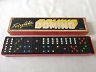 Vintage set of 28 black wooden Dominoes Fairylite coloured spots in Original Box
