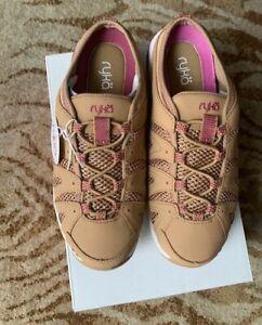 NIB Ryka Women's Tangie athletic mules ~ Tan/Pink~Size 7 W