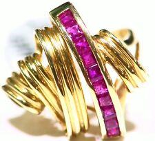 VINTAGE 14K SOLID GOLD NATURAL RUBY PRINCESS CUT CHANNEL SET ENGAGEMENT RING