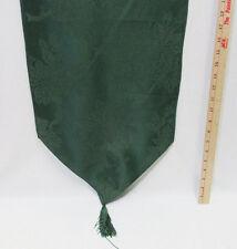Christmas Table Runner Green Poinsettia & Bells Design w/ Removable Tassels