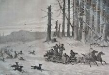 Hunting wolves sleigh.....wood engraving...1860s
