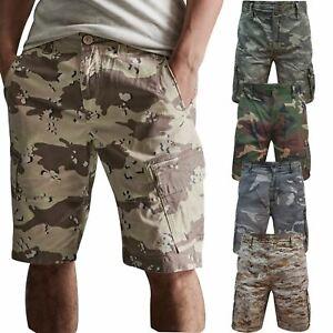 Mens AIRWALK Army Work Cargo Combat Camouflage Shorts Cotton Chino Half Pant