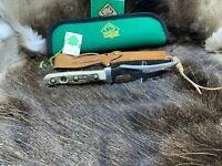 1981 Vintage Puma 6393 Skinner Knife With Stag Handles & Sheath Mint Pouch & Tag