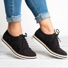 WOMENS FLAT SHOES LADIES GIRLS LACE UP SMART OFFICE VINTAGE BROGUE TRAINERS SIZE