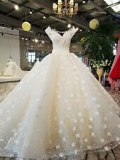 Gorgeous 3D Floral Lace Ball Church Wedding Dress White/Ivory Beaded Bridal Gown