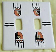 Double Light Switch Plate - Native American Design - Ceramic
