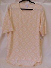 Lularoe Irma Shirt High Low Tunic Light Peach w Grn Yellow Print Size 2XL #5944