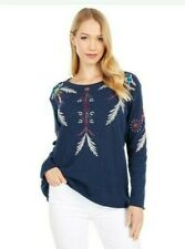 💕$180 JOHNNY WAS CARMELLA  EMBROIDERED THERMAL SHIRT TOP SZ LARGE LAST ONE 💕