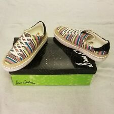 Sam Edelman Sneakers 6 Ivory Canvas Low Top Kavi Multicolor Striped Lace Up New