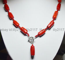 Tibet silver Love Clasp 12x20mm Natural Red Cylinder Coral Bead Pendant Necklace