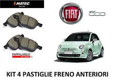 KIT 4 PASTICCHE FRENO ANTERIORI PER FIAT 500 1.2 BENZINA DAL 2007 AL 2017