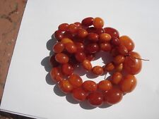 """VTG COLLECTIBLE EGGS BEADED NATURAL AMBER YOLK  BUTTERSCOTCH HUGE NECKLACE 34"""" L"""