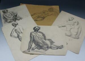Early 20C Signed Group of 5 Pencil Drawing Studies Nude Figures by Hayley Lever