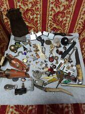 Vintage Estate Junk Drawer Lot Pins, Pocket, stag Knives, Lighters, man stuff
